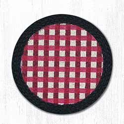 Burgundy Gingham Braided Tablemat - Round (10 inch)