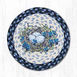 Blue Bird's Nest Braided Tablemat - Round (10 inch)