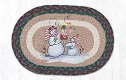 Birdhouse Snowman Braided Tablemat - Oval (10 x 15 inch)