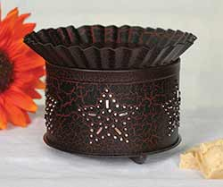 Punched Star Short Round Wax Warmer - Black & Red Crackle
