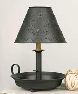 Flat Dish Lamp with Punched Tin Shade