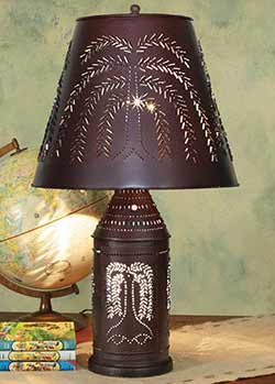 Large Punched Willow Paul Revere Lamp - Crackle Black/Red