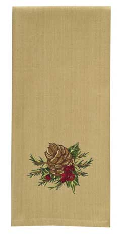 Holiday Pinecone Embroidered Dishtowel
