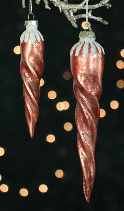 Mercury Glass Icicle Ornament - Faded Red