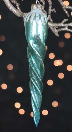 Mercury Glass Icicle Ornament - Aqua Blue