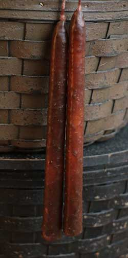 Mottled Orange Skinny Taper Candle Pair (7 inch)