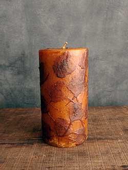Mustard Primitive Dripped Wax Pillar Candle - 3 x 6 inch