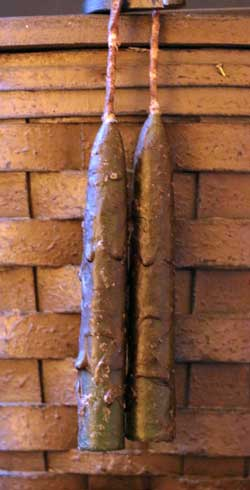 Primitive Green Dripped Wax Skinny Taper Candle Pair (4 inch)