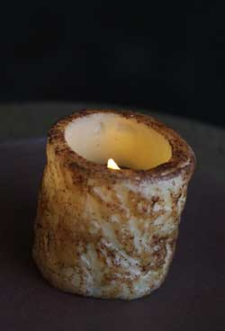 Burnt Ivory/Cinnamon Bumpy Battery Pillar with Tealight