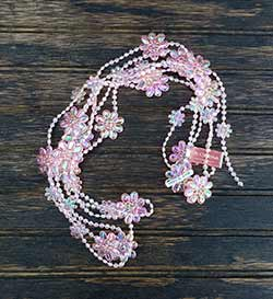 Pink Iridescent Beaded Garland with Flowers