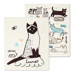 Cats with Names Swedish Dish Cloths (Set of 2)