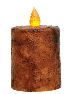Burnt Mustard Battery Pillar Candle with Timer - 2.5 x 2.5 inch