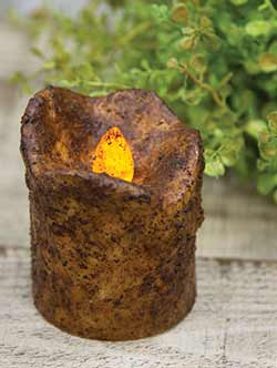 Burnt Mustard Battery Votive Candle with Timer