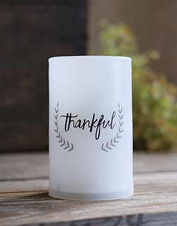 Thankful LED Pillar Candle with Timer