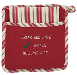 Holly Dots Sugar and Spice Pot Holder Set