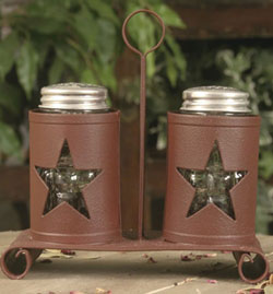Pennsylvania Star Salt & Pepper Caddy with Shakers - Barn Red