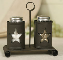 Pennsylvania Star Salt & Pepper Caddy with Shakers - Rustic Brown