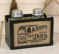 Burlap Salt and Pepper Caddy with Salt and Pepper Shakers