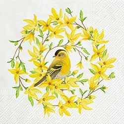 Forsythia & Bird Luncheon Paper Napkins