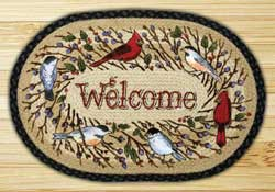 Birdsong Welcome Braided Jute Rug