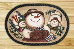 Snowman Sledding Braided Jute Rug