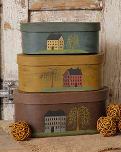 Primitive Saltbox House Stacking Boxes (Set of 3)