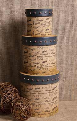Faith, Family, Friends Burlap Stacking Boxes (Set of 3)