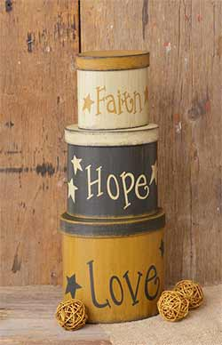 Faith, Hope, Love Stacking Boxes (Set of 3)