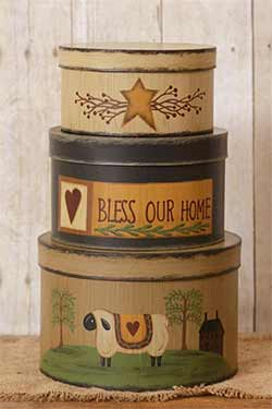 Bless Our Home with Sheep Stacking Boxes (Set of 3)