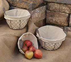 Round Chicken Wire Baskets Set with Liners