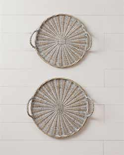 Round Willow Basket Trays (Set of 2)
