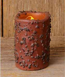 Coffee Rolled Primitive Battery Pillar Candle (with Timer) - 4 inch