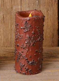 Coffee Rolled Primitive Battery Pillar Candle (with Timer) - 6 inch