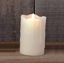 Ivory Primitive Flameless Pillar Candle (with Timer) - 5 inch