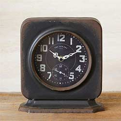 Vintage Black Metal Desk Clock