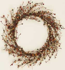 Primitive Burgundy, Mustard, & Cream Mix Wreath