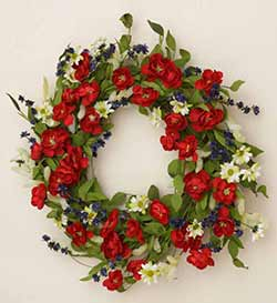 Patriotic Roses & Daisies Wreath