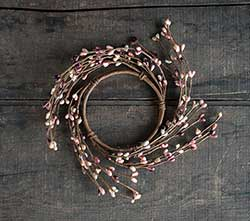 Burgundy & Pink Pip Berry Candle Ring (3.5 inch)