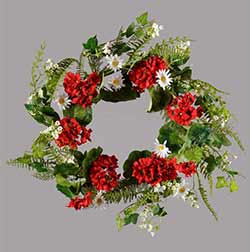 Daisy & Red Geranium Wreath