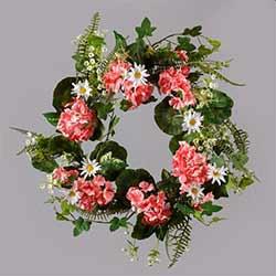 Daisy & Pink Geranium Wreath