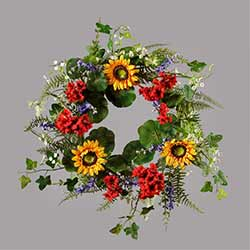 Geranium & Sunflower Wreath