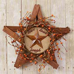 Live, Laugh, Love Wooden Star & Berry Wreath