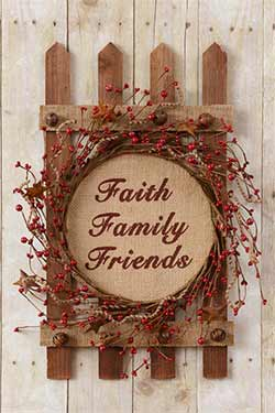 Faith, Family, Friends Berry Wreath on Fence