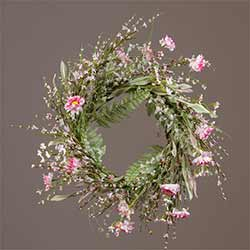 Pink Wildfower & Fern Wreath