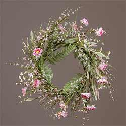 Pink Wildfower & Fern Wreath