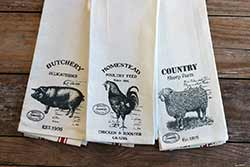 Vintage Farm Animal Tea Towels (Set of 3)