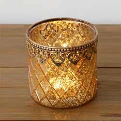 Gold Mercury Glass Candle Holder (Large)