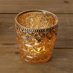 Gold Mercury Glass Candle Holders (Set of 2) - Medium