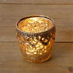 Gold Mercury Glass Candle Holders (Set of 2) - Small