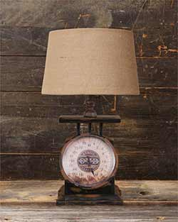 Antique Scale Table Lamp with Burlap Shade